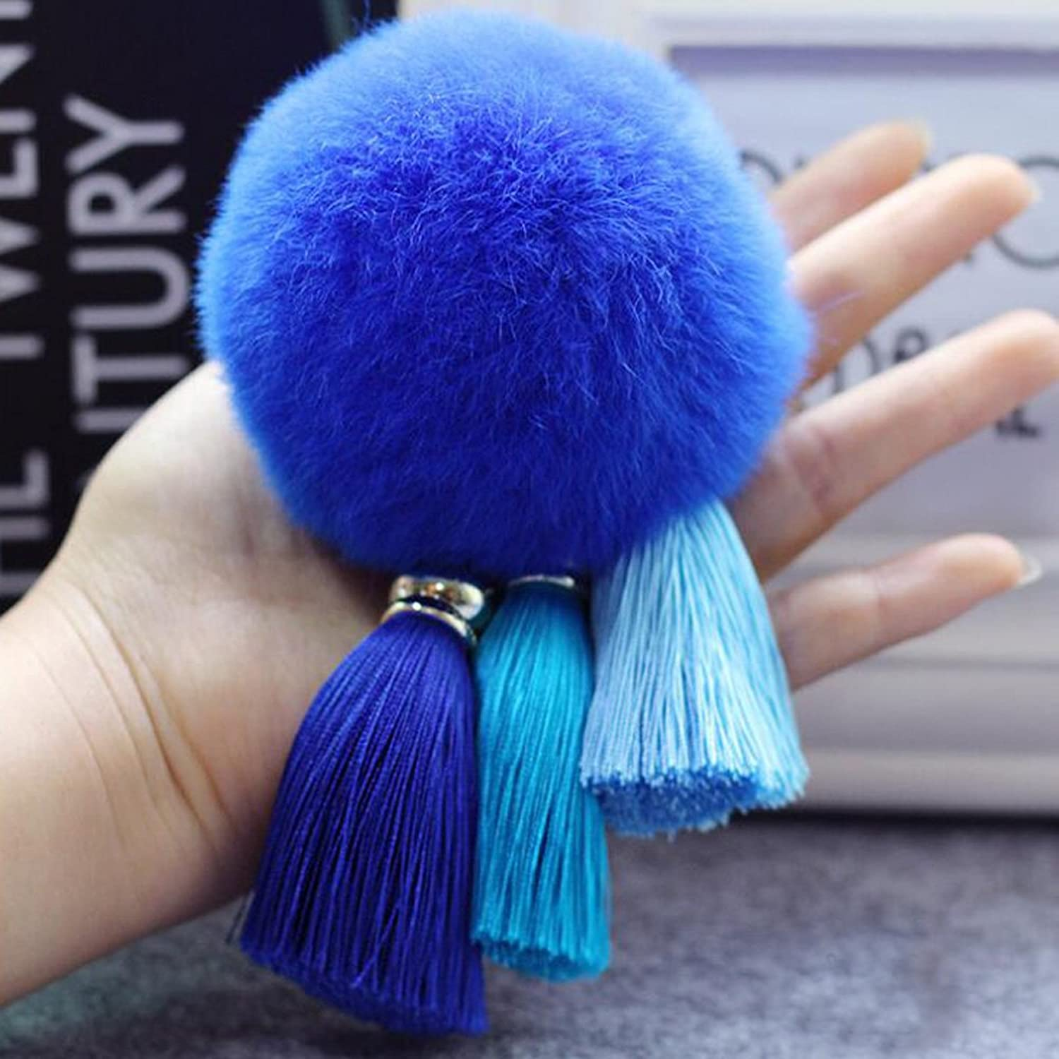 Bolbove Fur Ball + Multicolor Tassels Keychain Backpack Keyring Purse Pendant Handbag Charm (Deep bluee)