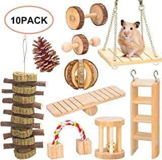 AsiFancy Hamster Chew Toys, Guinea Pig Rat Gerbil Chew Toys Accessories, Natural Wooden Watermelon Balls Bell Roller Teeth Care Molar Toy for Chinchilla Bird Bunny