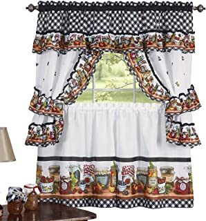 Collections Etc Mason Jars Kitchen Rod Pocket Window Curtain Set, Brown, 57