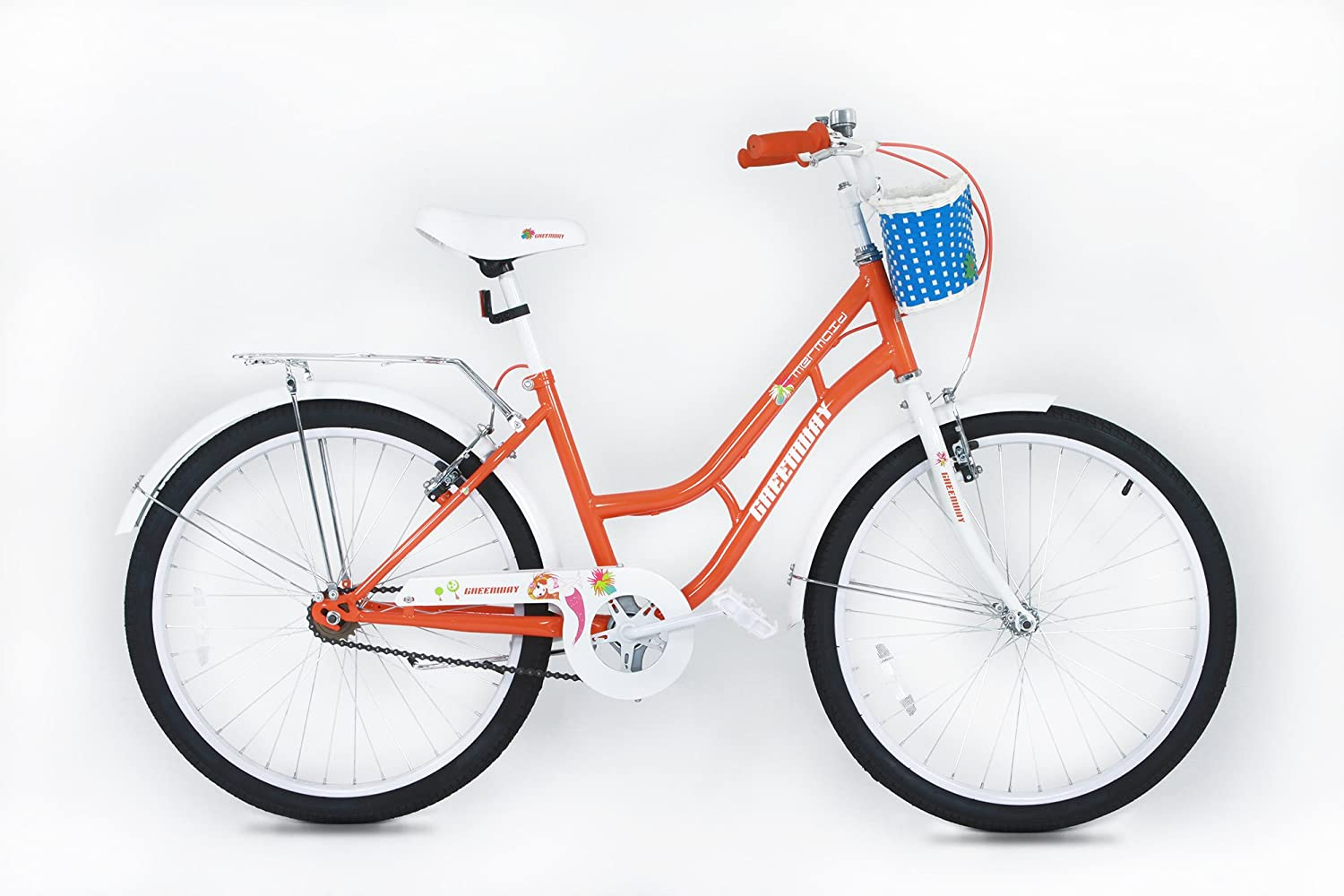 Princess Girls bike- orange 20 inch wheel Bicycle with basket - Suitable for AGE 5-12 YEARS OL D- Height 3' 10  - 4' 6