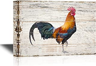 wall26 - Birds and Poultry Canvas Wall Art - A Colorful Rooster - Vintage Wood Style Giclee Print Gallery Wrap Modern Home Decor | Ready to Hang - 16x24 inches