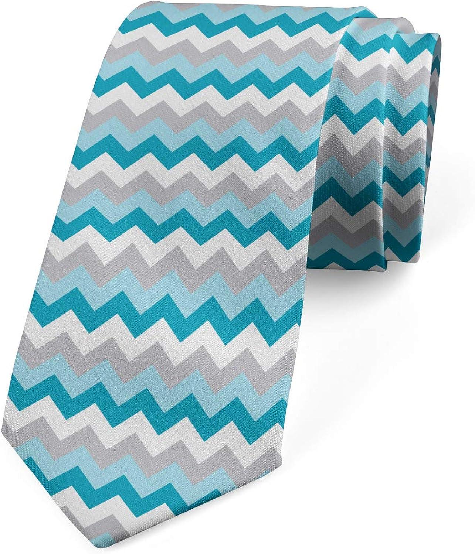Ambesonne Men's Tie, Zigzag Tribal Design, Necktie, 3.7
