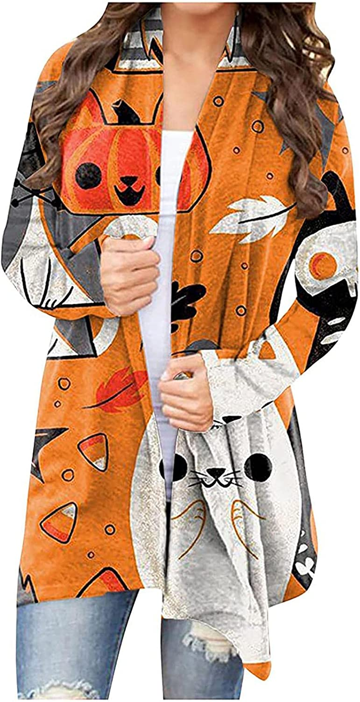 Womens Halloween Costumes,Long Sleeve Open Front Cardigan Cute Pumpkin Black Cat Ghost Lightweight Sweatshirt