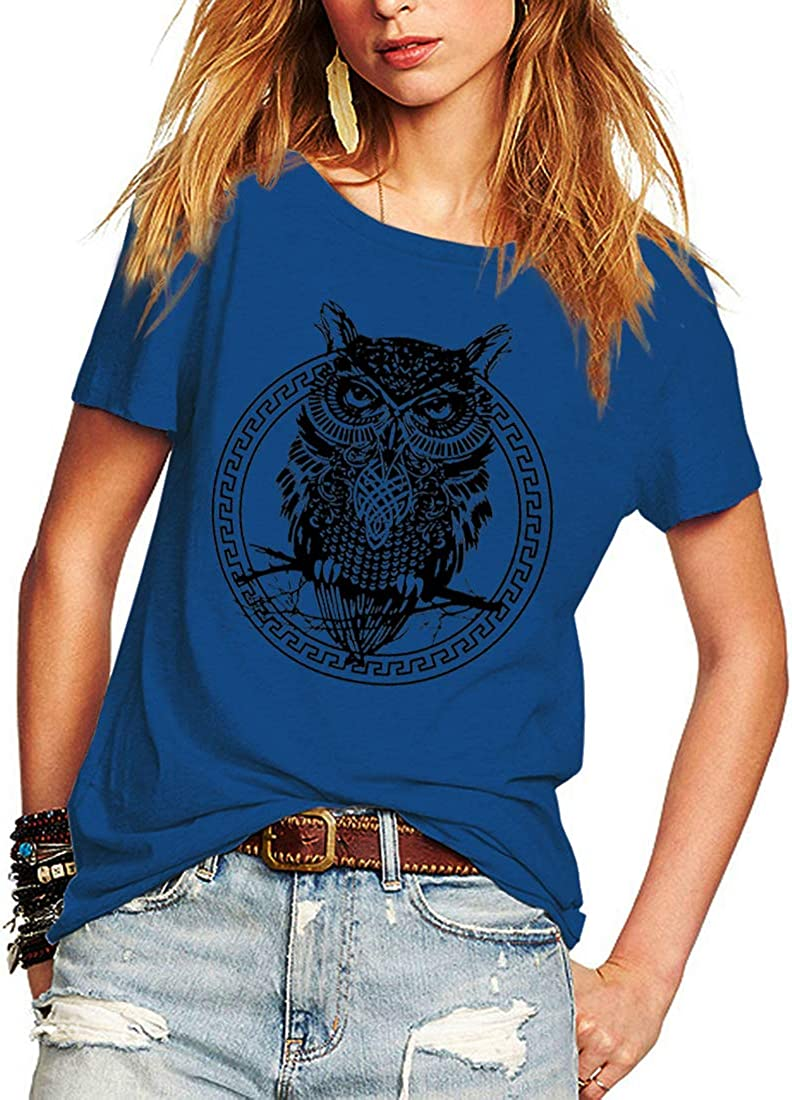 Laeyzuo We OFFer at cheap prices Women's Import Short Sleeve Summer t Owl Shirts Print Ca