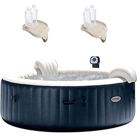 Intex 28409E PureSpa 6 Person Home Outdoor Inflatable Portable Heated Round Hot Tub Spa 85-inch x 28-inch with 170 Bubble Jets, Built in Heat Pump, and Drink Cup Holder Refreshment Tray (2 Pack)