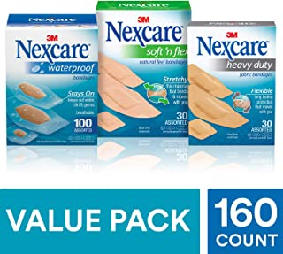 Nexcare Bandages Variety Pack, with Waterproof, Soft N Flex & Heavy Duty Bandages, 160 Count