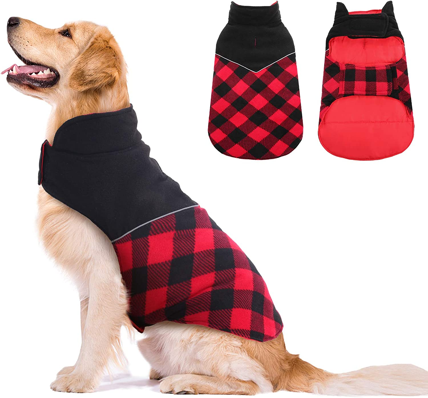 Kuoser Dog Winter Coat, Reflective Cold Weather Dog Jacket, Reversible British Style Plaid Dog Coat Warm Cotton Thickened Vest Windproof Outdoor Apparel for Small Medium and Large Dogs Red S : Pet Supplies