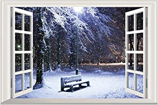 DNVEN 24 inches x 16 inches 3D Full Color High Definition Snow Winter Bench False Faux Window Frame Window Mural Vinyl Bedroom Living Room Playroom Wall Decals Stickers