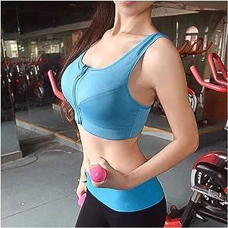 JINSUO Women Zipper Sports Bras Vest Plus Size Underwear Padded Shockproof Breathable Gym Fitness Athletic Running Yoga Sp...
