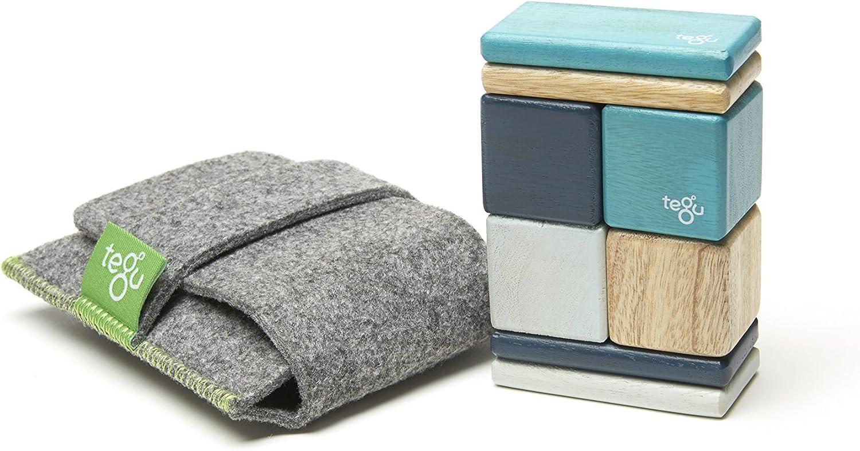 8 Piece Tegu Pocket Pouch Magnetic Wooden Block Set, bluee
