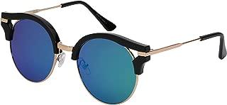 Round Cut-Out Cat Eye Half Frame Mirrored Sunglasses 32129MT-REV