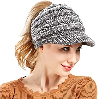 Warm Winter Knit Beanie Tail Hat Messy Slouchy Cable Hats for Women Bun Ponytail Cap