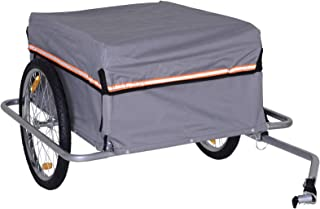"""PawHut Cargo Bike Trailer Bicycle Transport Cart Carrier with Reflectors and Removable Cover 20"""" Wheel Grey"""