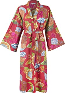 Batas de algodón orgánico para Mujeres y Hombres. Albornoces de Kimono Fresco. Impresos a Mano, cultivados orgánicamente, Hechos éticamente. Talla única 38-46 (Red Tropical)