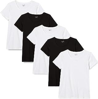 Berydale Damen T-Shirt Mit Rundhalsausschnitt aus 100 Prozent Baumwolle, 5er Pack