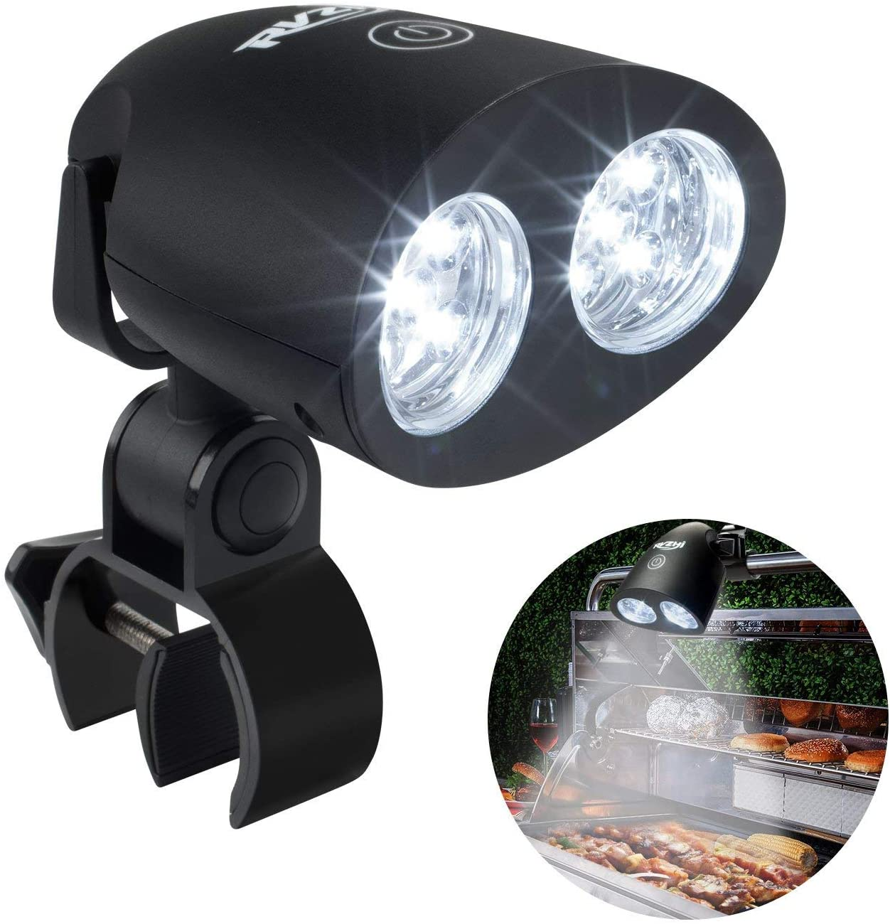 RVZHI Barbecue Grill Light, Outdoor 360 Degree Flexible BBQ Light with 10 Super Bright LED Lights, Heat Resistant Night Grill Light with Sturdy Clamp Mount Fits Most Grill Handle, Batteries Included : Patio, Lawn & Garden