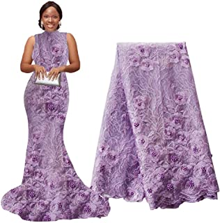 pqdaysun 5 Yards African Net Lace Fabrics Nigerian French Fabric Embroidered and Rhinestones Beaded Trim Cord Lace F50690 (Light Purple, 5 Yards)