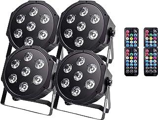 sahadsbv Pack de 4 LED par Light, 7 LED RGBW Stage Light avec 7 Modes d'éclairage et DMX Automatique, Modes activés par Le...