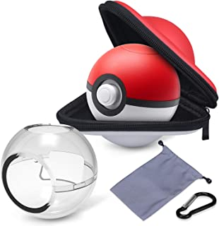 HEYSTOP Portable Carrying Case for Nintendo Switch Poke Ball Plus Controller, 3in1 Accessory Bag for Pokémon: Let's Go Pikachu Eevee Game for Nintendo Switch(Carrying Case+Carrying Bag+Clear case)