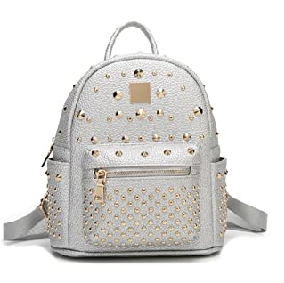 Women's Mini Rivet Studded Leather Backpack Waterproof Purse Backpacks Travel Shoulder Bag