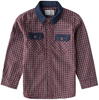 0fe55b9fead Boys Long Sleeve Button Down Up Shirt for Toddler Gingham Plaid Check Woven  Top