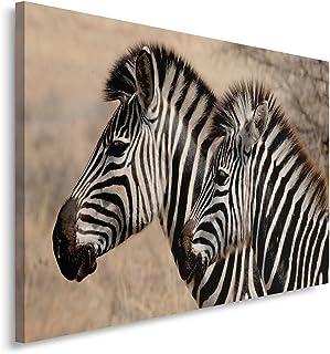 Feeby. Cuadro en Lienzo - 1 Parte - 50x70 cm, Imagen impresión Pintura decoración Cuadros de una Pieza, CEBRAS, Naturaleza, Negro, MARRÓN