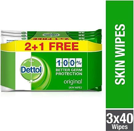 Dettol Original Anti-bacterial Skin Wipes 40 Count 2+1 Free