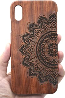 VolksRose Compatible iPhone Xs Max (6.5 inch) Wood Case - Rosewood Half Mandala Flower - Premium Quality Natural Wooden Case for Your Smartphone and Tablet