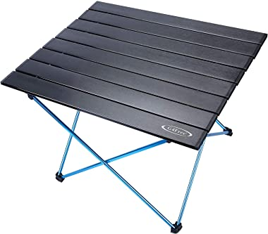 G4Free Portable Camping Table with Aluminum Table Top and Carrying Bag, Folding Ultralight Camp Table in a Bag for Picnic, Ca