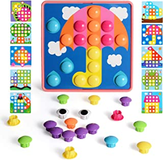 NextX Button Art Toddler Game, Color Matching Pegboard Educational Toy, Toddler Activities Learning Button Blocks, Stem Toys for 2+ Years Old Girls