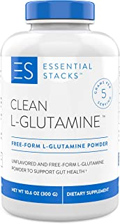 Essential Stacks Clean L-Glutamine Powder - Designed for Optimal Gut Health - Pure Unflavored L-Glutamine Powder That Mixe...