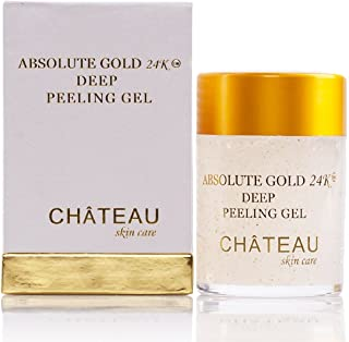 Absolute Gold 24K Deep Peeling Gel- 24 KARAT GOLD, PEARL POWDER and GINGER EXTRACT. Excellent for all skin types. 2.04 fl.oz-60 ml. Eliminates the dead skin cells and leaving skin glowing and radiant. (FRAGRANCE FREE, PARABEN FREE, PETROLEUM FREE).