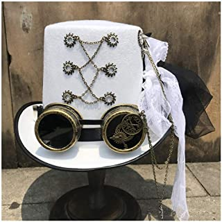 SHENTIANWEI Women Retro Handmade Steampunk Top Hat with Gear Glasses and Lace Stage Magic Hat Performance Hat White Size 57CM