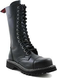 Angry Itch - 14-Trous Gothique Punk Cuir Noir Rangers avec Zip - Pointures 36-48 - Fabriquée en EU!