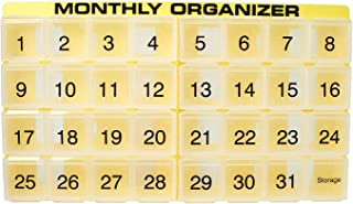 31 compartments, 1 per Day, 4 Week Monthly Pill Organizer by Promed. Includes Tray and 8 Removable compartments. (Yellow)