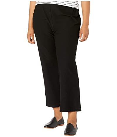 Eileen Fisher Plus Size Washable Stretch Crepe Flare Ankle Pants (Black) Women