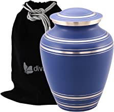 Elite Onyx Blue Cremation Urn - Blue Funeral Urn - Solid Brass Brushed Onyx Blue Urn - Handcrafted and Affordable Large Urn for Human Ashes - Adult Funeral Urn with Velvet Bag