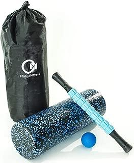 "MobyRollerz Foam Roller Set - 18"" Foam Roller, Massage Stick, Massage Ball - 4 in 1 Deep Tissue Massager with Travel Bag - Black and Blue"