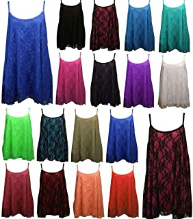 DIGITAL SPOT Womens Night Party Floral Lace Camisole Vest Top Ladies Mesh Strappy Swing Dress Medium/4X Large