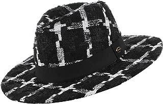 GEMVIE Unisex Classic Plaid Wide Brim Fedora Hat Ribbo Band Trilby Panama Hats Gentleman Hat