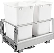 Rev-A-Shelf - 5149-18DM-211 - Double 35 Qt. Pull-Out Brushed Aluminum and White Waste Container with Rev-A-Motion