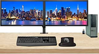 Dell Optiplex 7010 Desktop Business PC Bundle with i7-3770, 16GB DDR3, 1TB SSD, Windows 10 Pro, 2 x 24 inch Monitors with Monitor Stand, WiFi, Wireless Keyboard and Mouse, Gel Mousepad (Renewed)