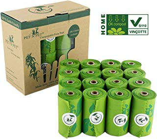 PET N PET Biodegradable Dog Waste Bags Compostable Poop Bags Pet Clean up Bags Green Eco-Friendly, Certified by US BPI and EUR VINCOTTE. Meet ASTM D6400, EN13432, 240 Counts Certified