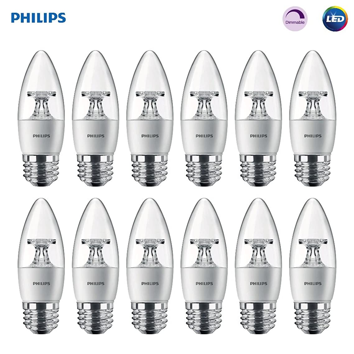 Philips LED Dimmable B11 Clear Candle Light Bulb: 300-Lumen, 5000-Kelvin, 4.5-Watt (40-Watt Equivalent), E26 Base, Daylight, 12-Pack