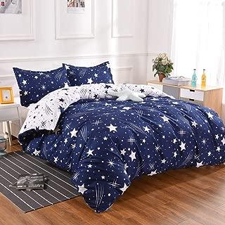 YMY Lightweight Microfiber Bedding Duvet Cover Set, Cute Star Pattern (Blue White Star, King)