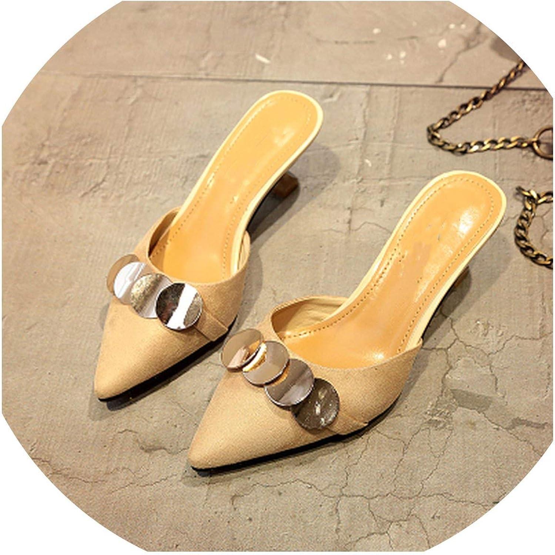 Betterluse Summer Slippers Women Pumps Mules Heel Slides Women Heels High Heels Middle Kitten Sequin shoes