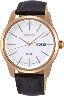 Seiko Mens Quartz Watch, Analog Display and Leather Strap SNE530P1
