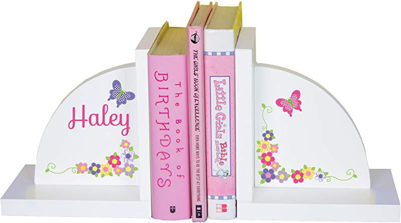 MyBambino Girl S Personalized Butterfly Flower Bookends Pastel