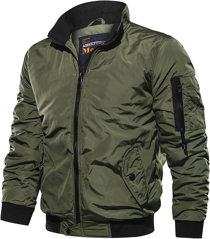 Men's Autumn And Winter Casual Solid Color Tooling Wind Jacket Zipper Coat