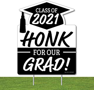 Big Dot of Happiness Honk for Our Graduate - Outdoor Lawn Sign - Class of 2021 Graduation Party Yard Sign - 1 Piece